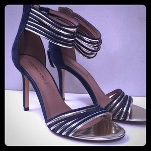 BCBGMaxazaria blue suede stiletto sandals.